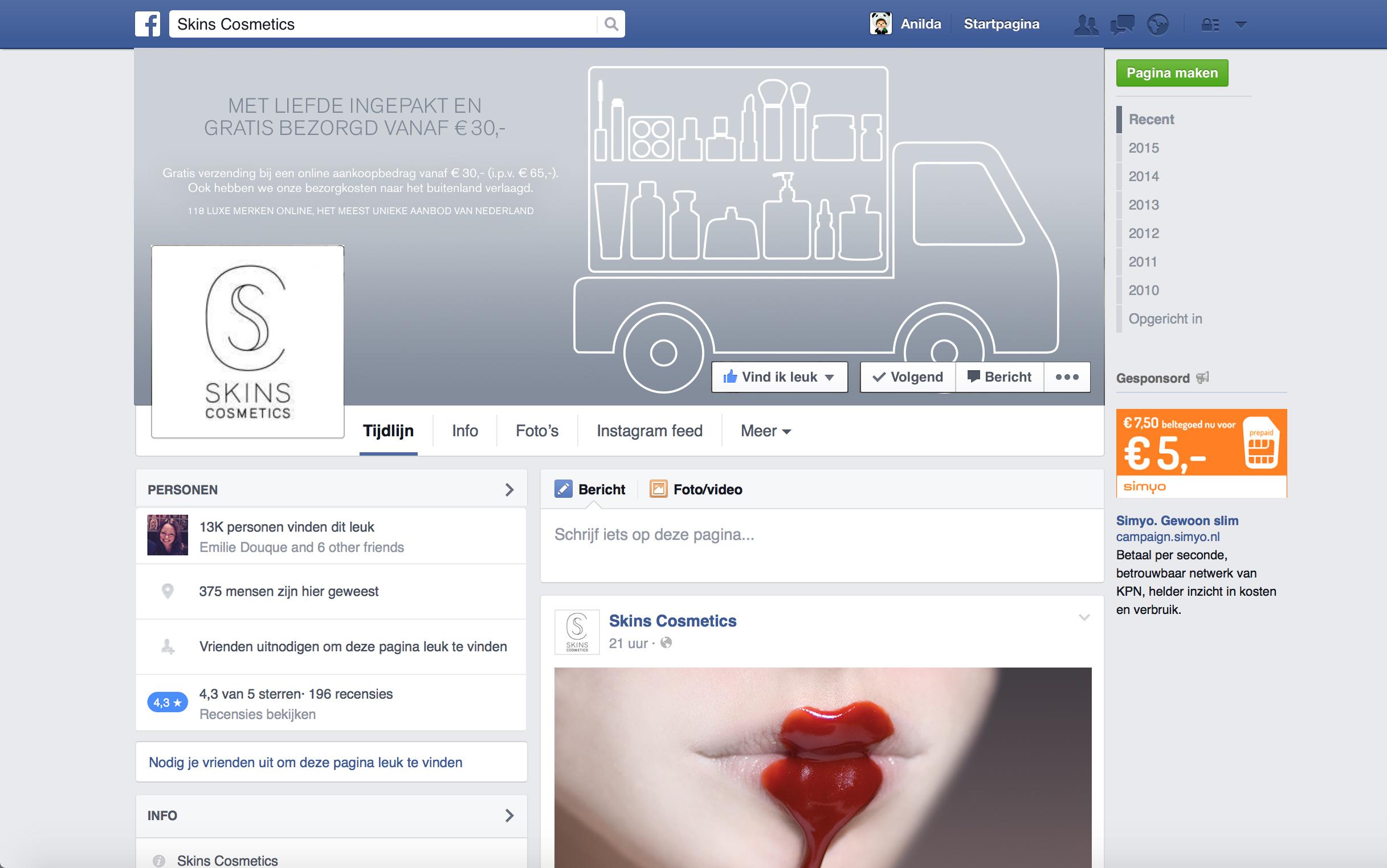Skins Cosmetics Facebook
